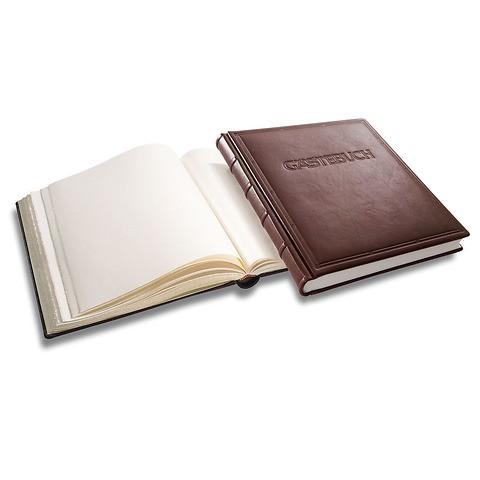 Gästebuch mit Titel Ausgabe No. 1 Vollleder Verona onyx-schwarz Goldschnittziselierung